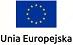 Unia Europejska Logotyp Na granatowym tle 12 żółtych gwiazdek tworzących okrąg pod nim napis