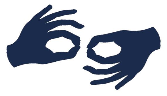tłumacz migowy, grafika dłonie