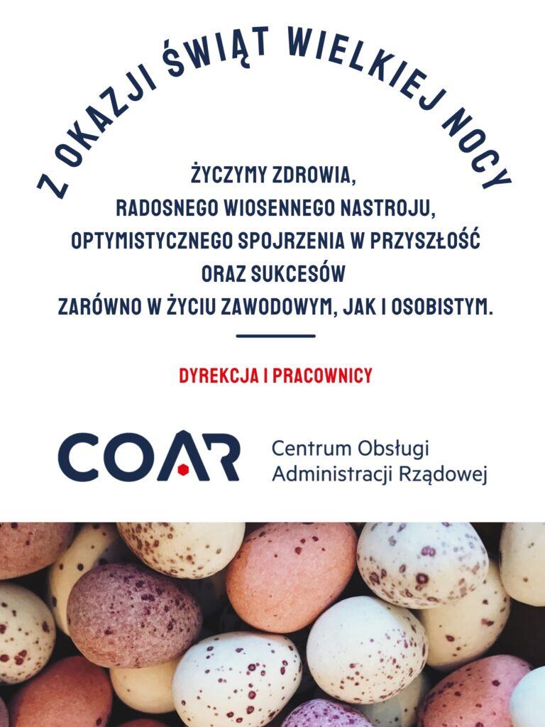 Kartka Wielkanocna od Centrum Obsługi Administracji Rządowej. Na górze treść życzeń, pod spodem logo COAR, na samym dole zdjęcie kolorowych jaj przepiórczych.